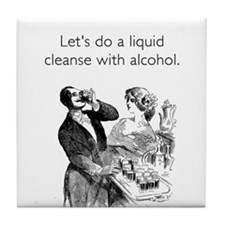 Alcohol Cleanse White Tile Coaster