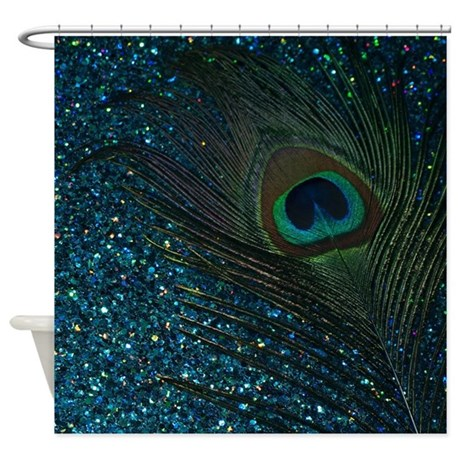 glittery aqua peacock shower curtain by christyoliver