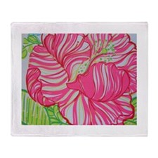 Hibiscus in Lilly Pulitzer Throw Blanket