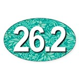 Super Unique 26.2 Floral TEAL Decal