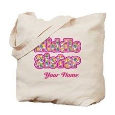 Middle Sister Pink Splat - Personalized Tote Bag