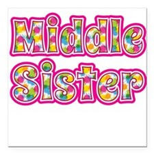 "Middle Sister Pink Square Car Magnet 3"" x 3"""