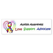 Autism Ribbon on Heart Bumper Sticker