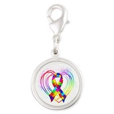 Autism Ribbon on Heart Silver Round Charm