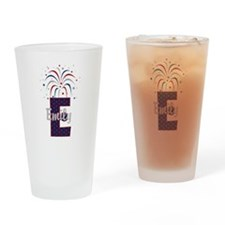 4th of July Fireworks letter E Drinking Glass