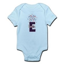 4th of July Fireworks letter E Body Suit