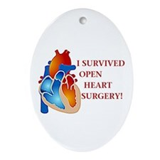 I Survived Open Heart Surgery Oval Ornament