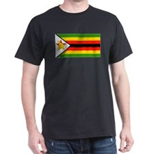 Zimbabwe Blank Flag Black T-Shirt