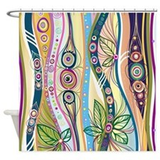 Colorful Flourish Stripes Shower Curtain