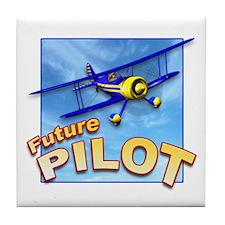 Blue BiPlane Future Pilot Tile Coaster