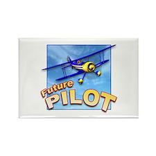 Blue BiPlane Future Pilot Rectangle Magnet (100 pa