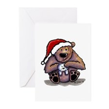 Christmas Bear Huggin' Kitty Greeting Cards (Packa
