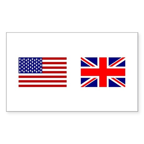 USA & Union Jack Rectangle Sticker