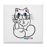 Longhair ASL Kitty Tile Coaster