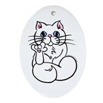 Longhair ASL Kitty Oval Ornament