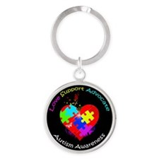 Autism Puzzle on Heart Round Keychain