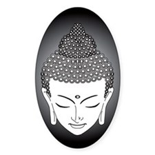 b/w buddha Oval Decal