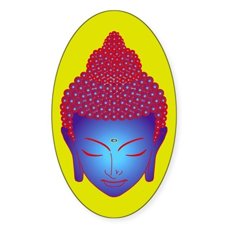 purple buddha Oval Sticker