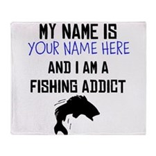 Custom Fishing Addict Throw Blanket