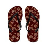 Gold and White Trees on Grunge Red Flip Flops
