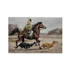 Bedouin Riding with Saluki Hounds Rectangle Magnet