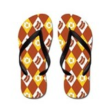 Bacon and Eggs Argyle Pattern Flip Flops