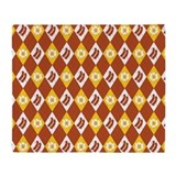 Bacon and Eggs Argyle Pattern Throw Blanket