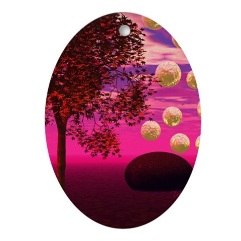 Burst of Joy, Abstract Magenta Ornament (Oval)