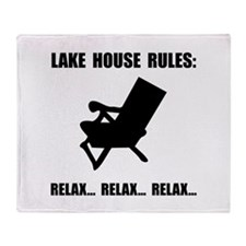 Lake House Rules Throw Blanket