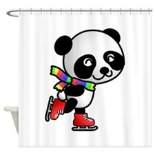 Skating Panda Shower Curtain