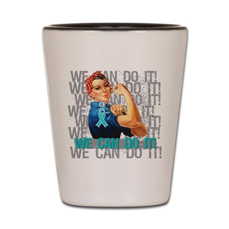 Rosie Riveter Ovarian Cancer Shot Glass