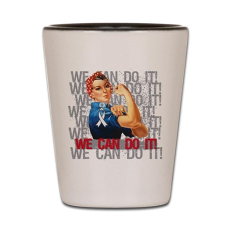 Rosie The Riveter Lung Cancer Shot Glass