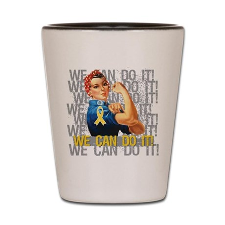 Rosie Riveter Childhood Cancer Shot Glass