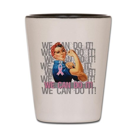 Rosie The Riveter Breast Cancer Shot Glass