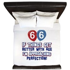 66 year Old Birthday Designs King Duvet