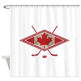Canadian Hockey Flag Shower Curtain