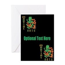 Martial Arts Smoke Fire Dragon Text Greeting Card