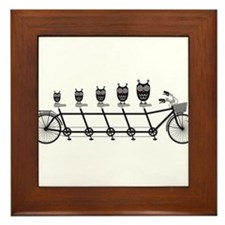 cute owls on tandem bicycle Framed Tile