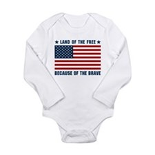 Land of the Free Flag Long Sleeve Infant Bodysuit