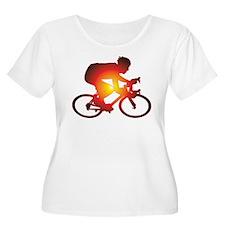 Sunset Bicycle Rider Plus Size T-Shirt