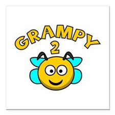"Grampy 2 Bee Square Car Magnet 3"" x 3"""