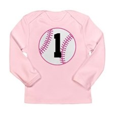 Softball Player Number 1 Long Sleeve Infant T-Shir