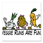 Veggie Runs Square Car Magnet 3