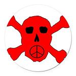 Peace Skull Round Car Magnet