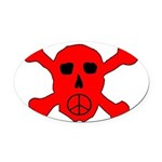 Peace Skull Oval Car Magnet