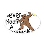Moon A Werewolf Oval Car Magnet