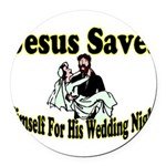 Jesus Saves Round Car Magnet