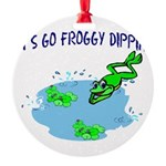 Froggy Dipping Round Ornament