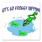 Froggy Dipping Square Car Magnet 3
