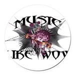 Music Like Wow Round Car Magnet